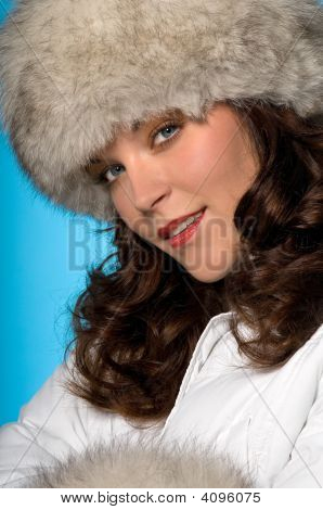 Portrait Of Beautiful Woman Wearing Winter Fashion