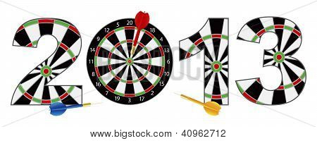 2013 New Year Dartboard With Darts Illustration