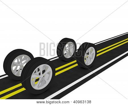 3D Render Of 4 Tires On A Road