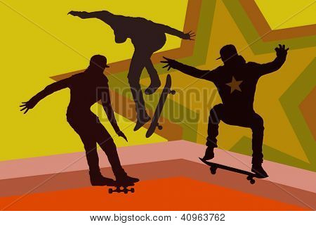 vector skateboarding silhouette