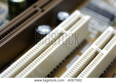 Mainboard Close Up Framed Photography. Selective Focus On Pci Slot.