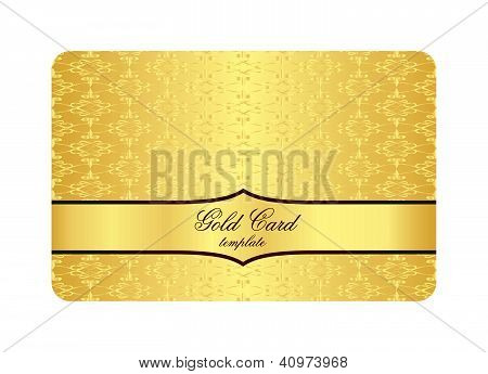 Luxury Golden Card With Inscribed Vintage Pattern
