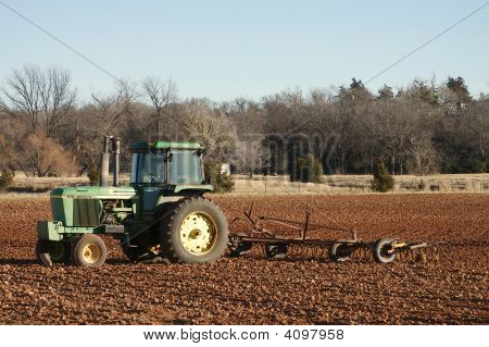 Tractor In Oklahoma Field.