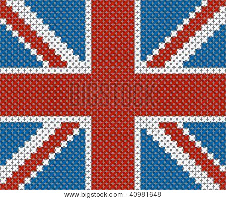 Great Britain flag background made with embroidery cross-stitch.
