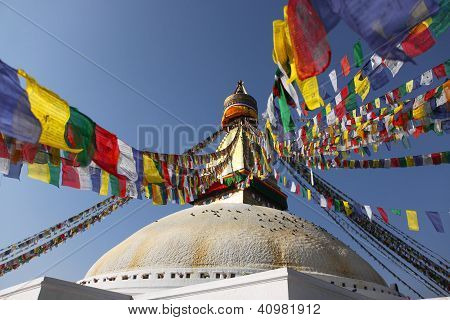 Bodhnath Stupa With Colorful Flag