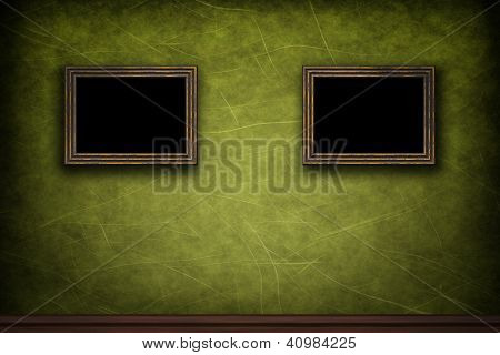 Old Wooden Frames On Green Retro Grunge Wall