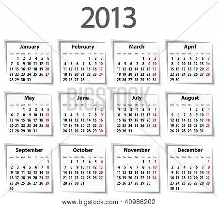 Calendar For 2013. Mondays First