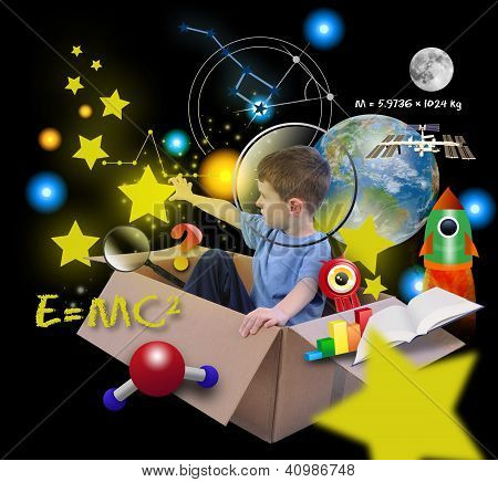 Space Science Boy In Box With Stars On Black
