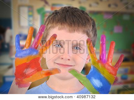 Art School Child With Painted Hands