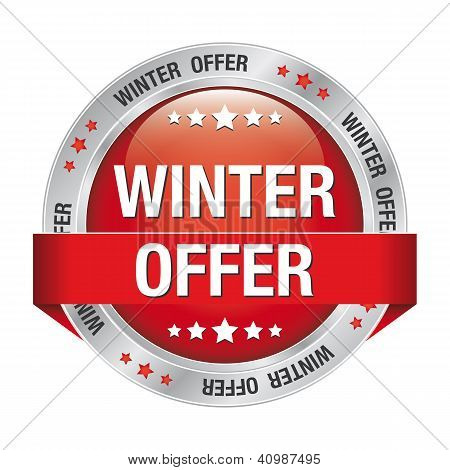Winter Offer Button Red Silver