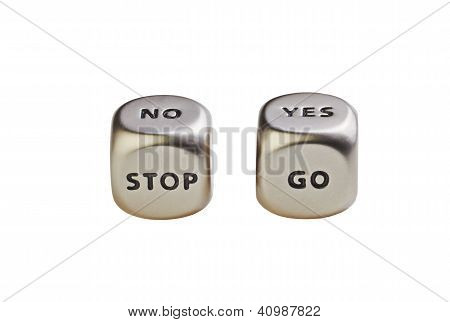 Dices With Words Yes No Stop Go On White Backgriund