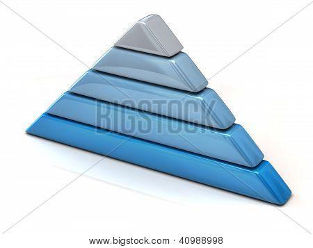 Blue pyramid chart 3d