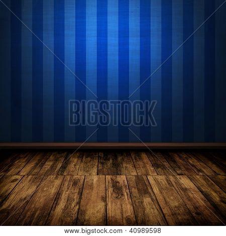 Dark Vintage Blue Room Interior With Wooden Floor