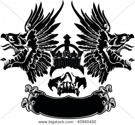 One Color Eagle Wings Skull Symbol Emblem