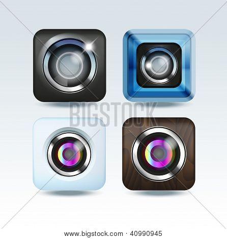 Camera photo app icon set
