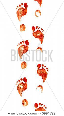 Spooky foot prints isolated on white