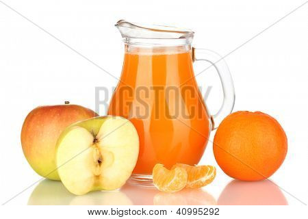 Full jug of multivitamin juice isolated on white