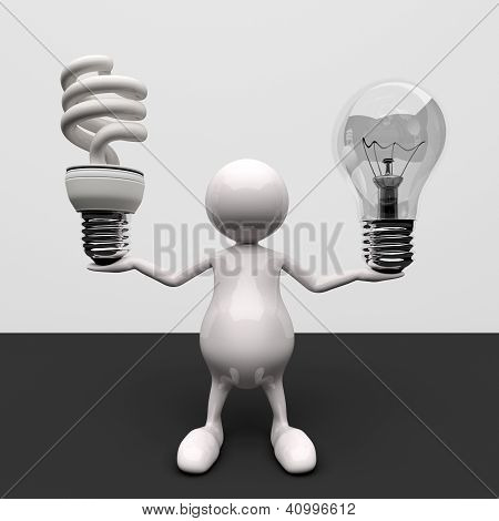 3D People With Lighting Bulb