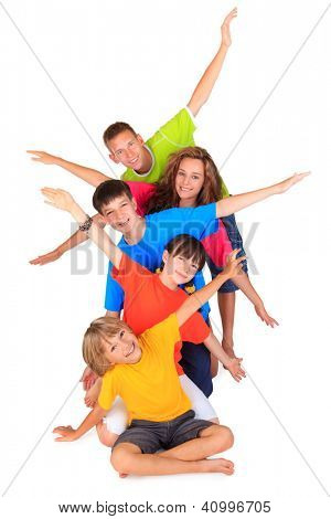 Children with outstretched arms