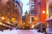 stock photo of scandinavian  - Evening winter scenery of street in Old Town  - JPG