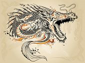 picture of henna tattoo  - Dragon Doodle Sketch Tattoo Vector - JPG