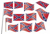 foto of confederate flag  - set of Confederate flags over white vector illustration - JPG