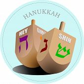 Couple Of Dreidel As Element Of Hanukkah Festival. Vector Illustration