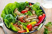 stock photo of rocket salad  - Grilled Oyster Mushroom with fresh vegetables salad - JPG