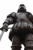 image of conquistadors  - Statue of a Spanish Conquistador isolated on white - JPG