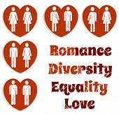 stock photo of queer  - Diversity and love red love heart icons for Valentine - JPG