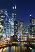 pic of willy  - Image of Chicago downtown and Chicago River with bridges at night - JPG