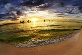 foto of boracay  - Tropical beach at sunset - JPG