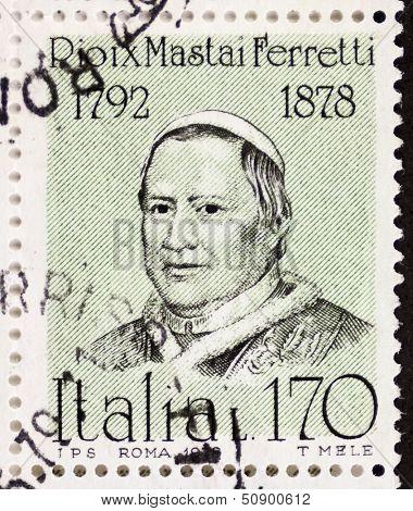ITALY - CIRCA 1978: a stamp printed in Italy shows  portrait of  Giovanni Maria Mastai Ferretti (1792 �¢?? 1878), Pope Pius IX. Italy, circa 1978