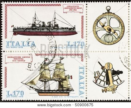 ITALY �?�¢?? CIRCA 1978: a block of two stamps printed in Italy shows illustrations of  battleship, brig and old sextant and compass. Italy, circa 1978