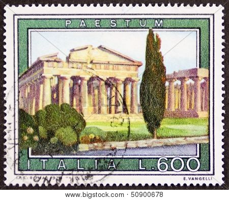 ITALY �¢?? CIRCA 1978 a stamp printed in Italy shows an illustration of Paestum, major Graeco-Roman city in the Campania region, southern Italy. Italy, circa 1978