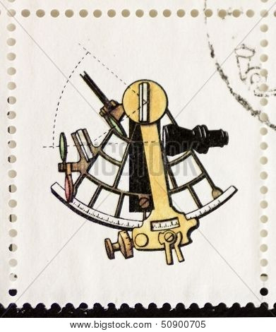 ITALY �¢?? CIRCA 1978: a stamp printed in Italy shows illustration of  an old sextant. Italy, circa 1978