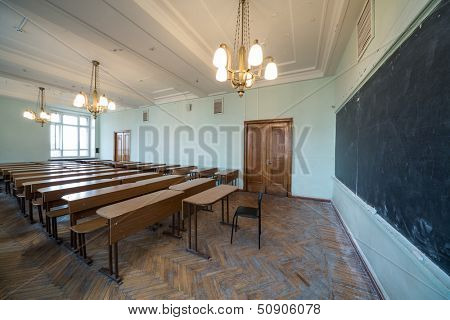 MOSCOW - MAY 13: Classroom with chandeliers in the Faculty of Physics in Moscow State University on May 13,2013 in Moscow, Russia.
