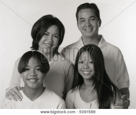 Black And White Portrait Of Filipino Family