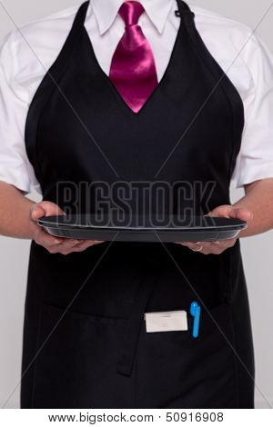 A waitress wearing an apron and tie holding an empty tray. Good image for product placement..