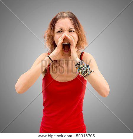 Young Girl Shoutting.