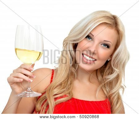 Portrait Of A Beautiful Blonde Girl In A Red Dress With A Glass Of Wine