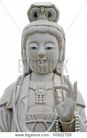 The White Jade Guan Yin Image Of Buddha Chinese Art.