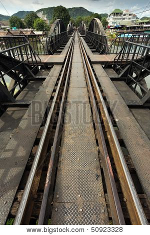 Ricer Kwai bridge railway diminishing perspective view, Thailand