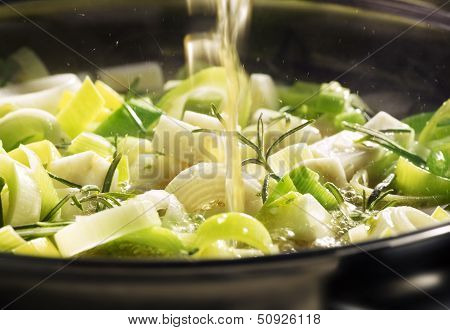 Leek Being Cooked In A Pan
