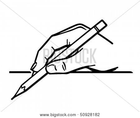 Hand Holding Pencil 2 - Retro Clip Art Illustration