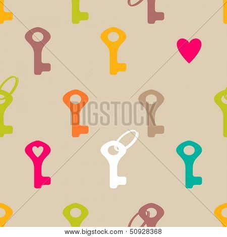 Keys and heart seamless pattern
