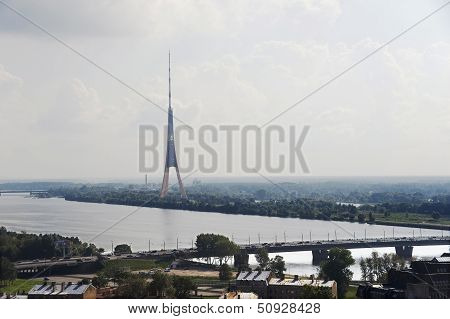 Riga. View Of A Television Tower.