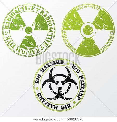 Bio Hazard And Radioactive Stamp Set