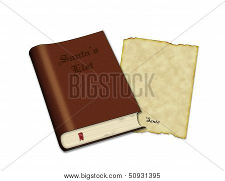 Santa's List Book And Old Parchment Paper For Letter
