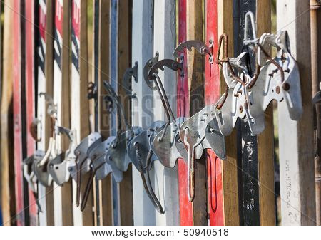 Ancient Skis Closeup